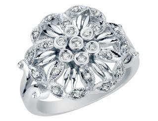 Diamond Flower Ring in White Gold