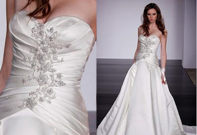 Embroidered long wedding dress