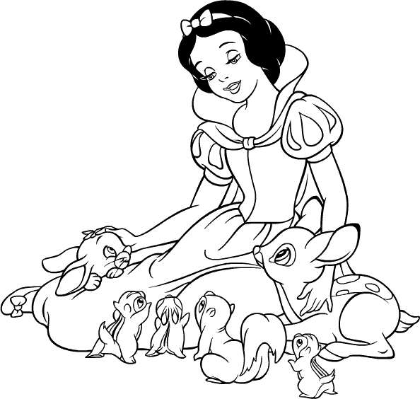 """Princesas Disney: Dibujos para colorear de """"Blancanieves y ..."""