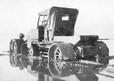 Experimental marsh buggy, 1928, stuck in mud