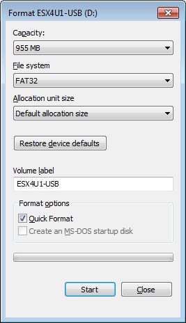 Format USB Stick - FAT32 is fine