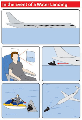 An illustration of an airplane making a water landing, and me saving all passengers from certain doom.