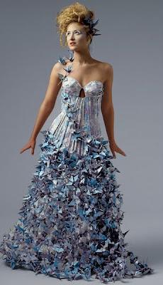 folded paper cranes dress