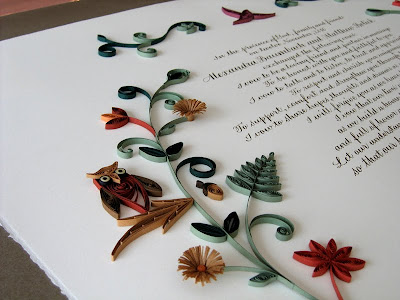 Quilled Quaker marriage certificate by Ann Martin