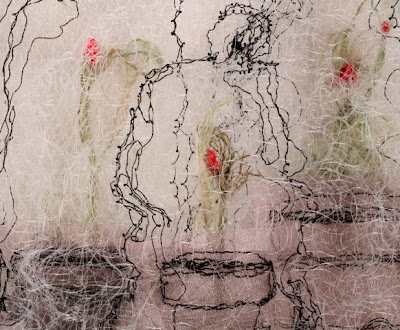 The Greenhouse II, detail, textile art embroidery by Susanne Gregg