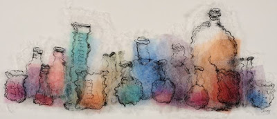 Laboratory II, textile art embroidery by Susanne Gregg