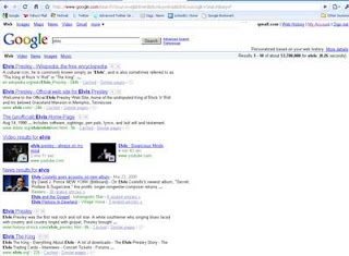 Google SERP on search for the word ELVIS