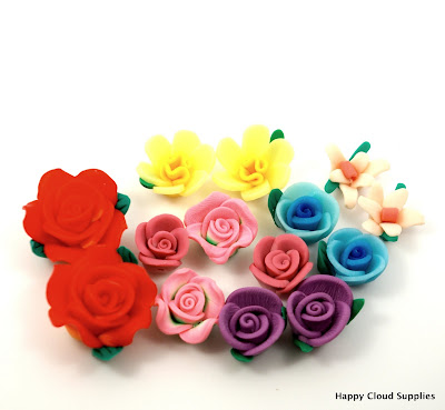 Polymer Clay Flowers Beads - Tea Party Set