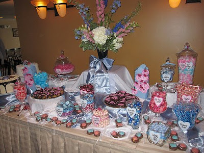 Cake pedestals fitted with pretty plates of candies also work great