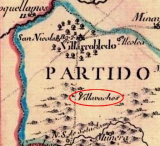 Villavachos en el Mapa de la Provincia de La Mancha de Thomas López Pensionista (1795)