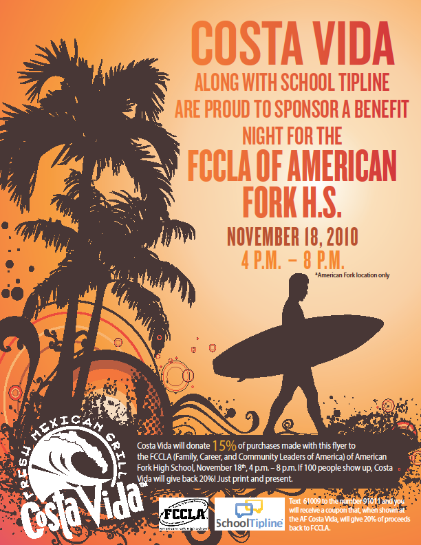 Afhs fccla costa vida benefit night for American leadership academy friday shirts