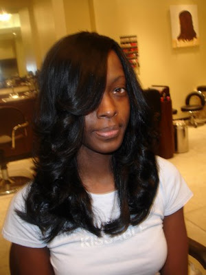 hairstyles with weave ponytails. black weave hairstyles. ponytail and bump bangs black weave hairstyles