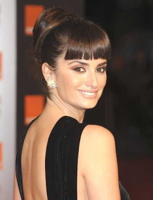 Penelope Cruz wearing a high updo hairstyle for the British Academy Film