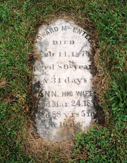 Headstone of Edward McEntee and Ann (Antje) Freer. Digital photograph taken by Thomas MacEntee on July 14, 2008 at New Paltz, New York.