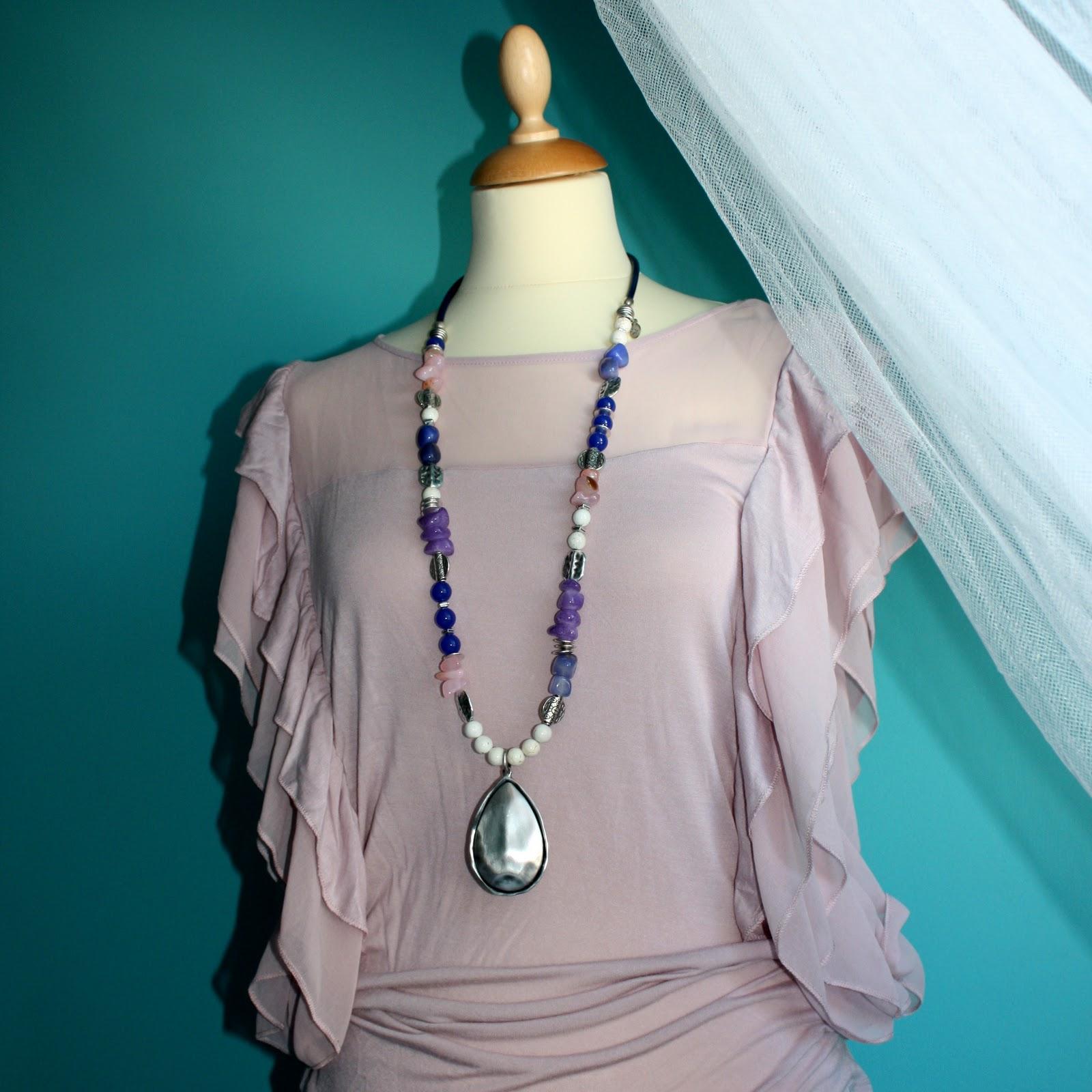 2n de nini collares con piedras naturales en rosa - Piedras para collares ...