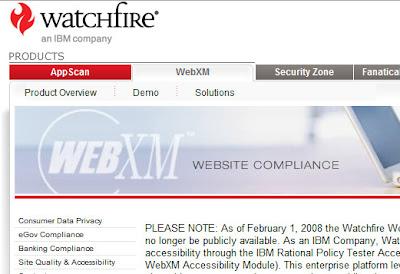 Imagem do site do Bobby (WebXact) com a mensagem de sua desativação pela IBM