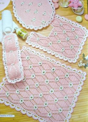 casos y cosas de mi casa juego de ba o rosado tejido a ganchillo o crochet. Black Bedroom Furniture Sets. Home Design Ideas