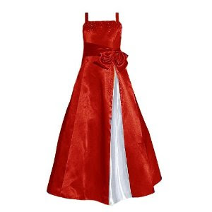 girls formal christmas dress red and white satin