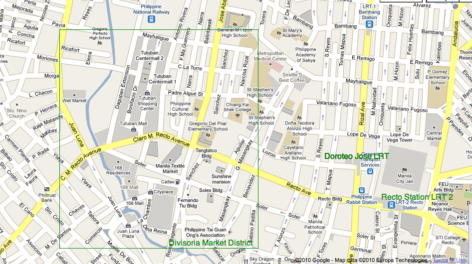 market does not have clear boundaries and may extend to streets outside the green box above as stated in the attractions section the map only serves