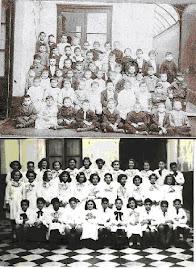 Comparación del edificio de la foto escolar de Gardel con la del edificio de Durazno y Médanos