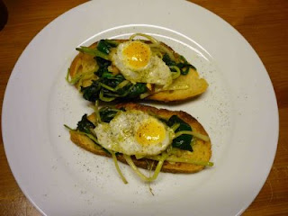 Ramps and fried quail eggs on garlic toast: a nice meal.
