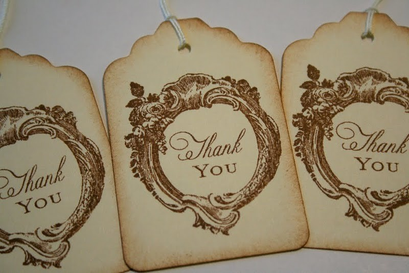 These handmade vintage style thank you gift tags are perfect for wedding