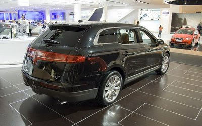 Rear 3/4 view of black 2011 Lincoln MKT