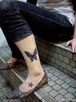 Beautiful Feminine Butterfly Foot Tattoos