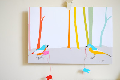 3d bird and bunting art