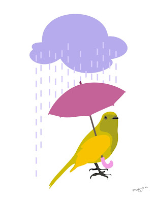 Bird art of the day, bird in the rain with a tiny umbrella, bird art