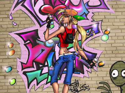 graffiti girl,graffiti alphabet,graffiti spraycan