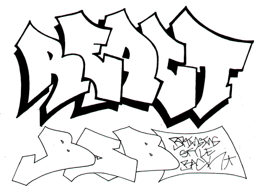 graffiti characters. Sketch Graffiti Letters quot;REACT