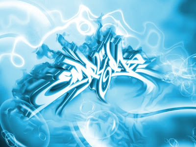 "Cool 3D Digital Arrow Graffiti Alphabet ""Sky BLUE Heaven"""