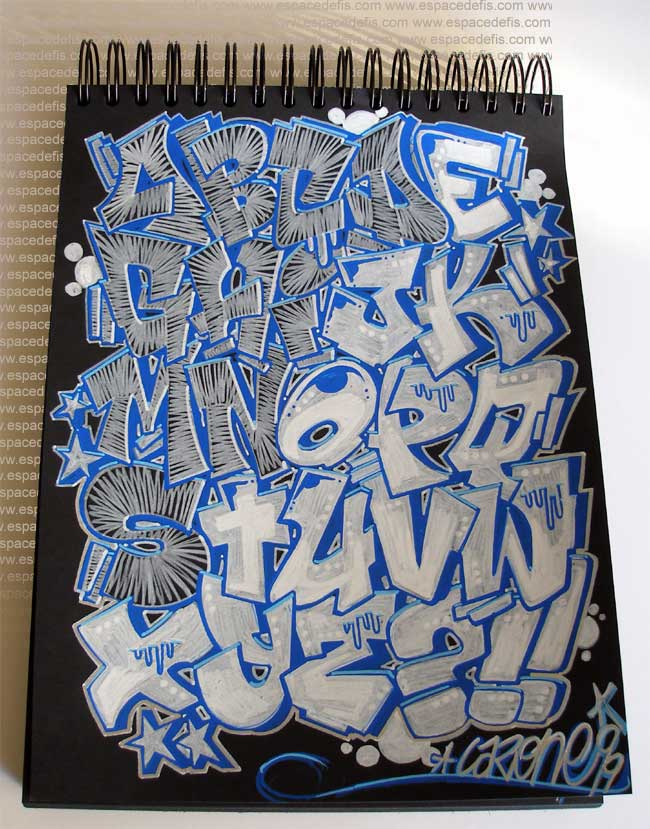 Black Book Alphabet Graffiti : Letter A-Z Color Blue