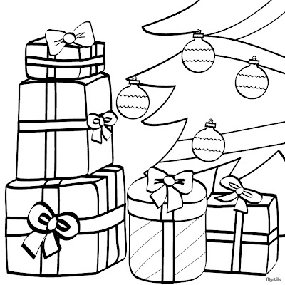Christmas presents under the Christmas Tree Coloring Page