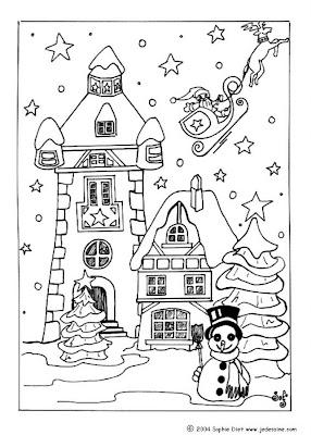 Christmas Village Coloring Sheets