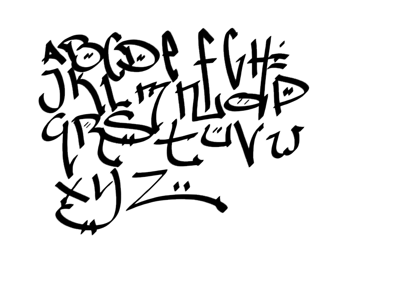 Sketch Graffiti Alphabet Letters AZ with Calligraphy Design on a Paper