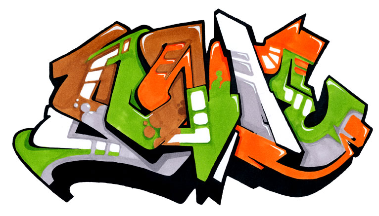 Graffiti Letters 3D Colorful Wildstyle