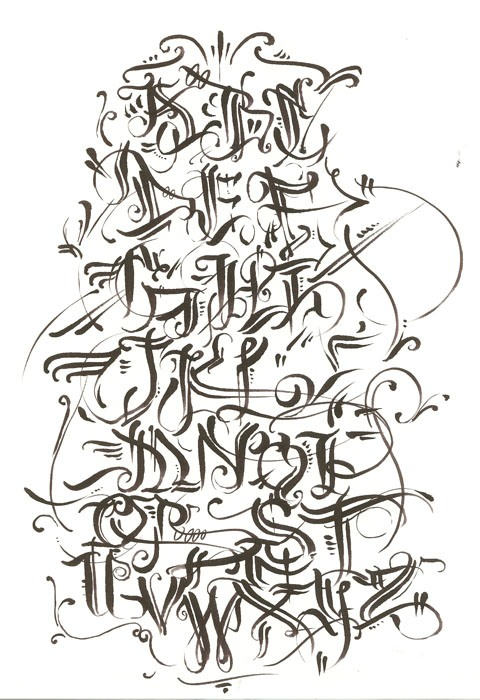 Graffiti Alphabet Calligraphy in Several Design Sketches Letters A - Z