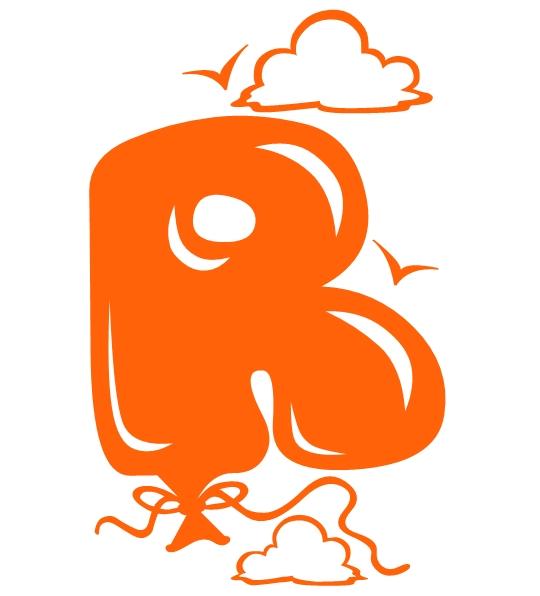 orange graffiti bubble letters r