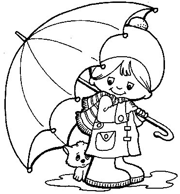 Coloring Pages  Kids on Cat Under Umbrella   Kids Coloring Pages