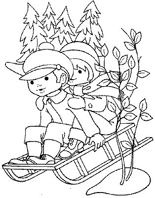 Winter Coloring Pages on Winter Sledding   Kids Coloring Pages    Disney Coloring Pages