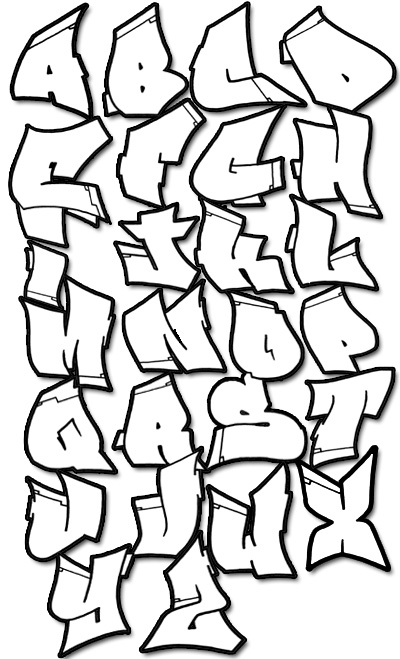 graffiti alphabet fonts. Graffiti Alphabet Style in