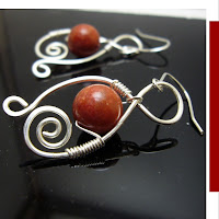coral wirewrapped earrings