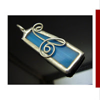 handmade jewelery soldered glass pendant blue