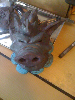 polymer clay boar head sculpture for Brothers Grimm Illustration Book