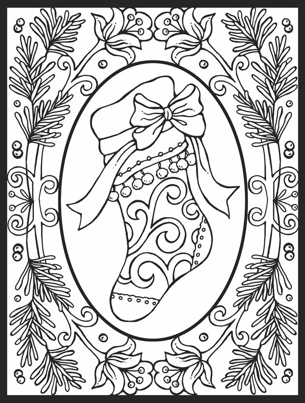 A Crowes Gathering Christmas Stocking Free Coloring Page