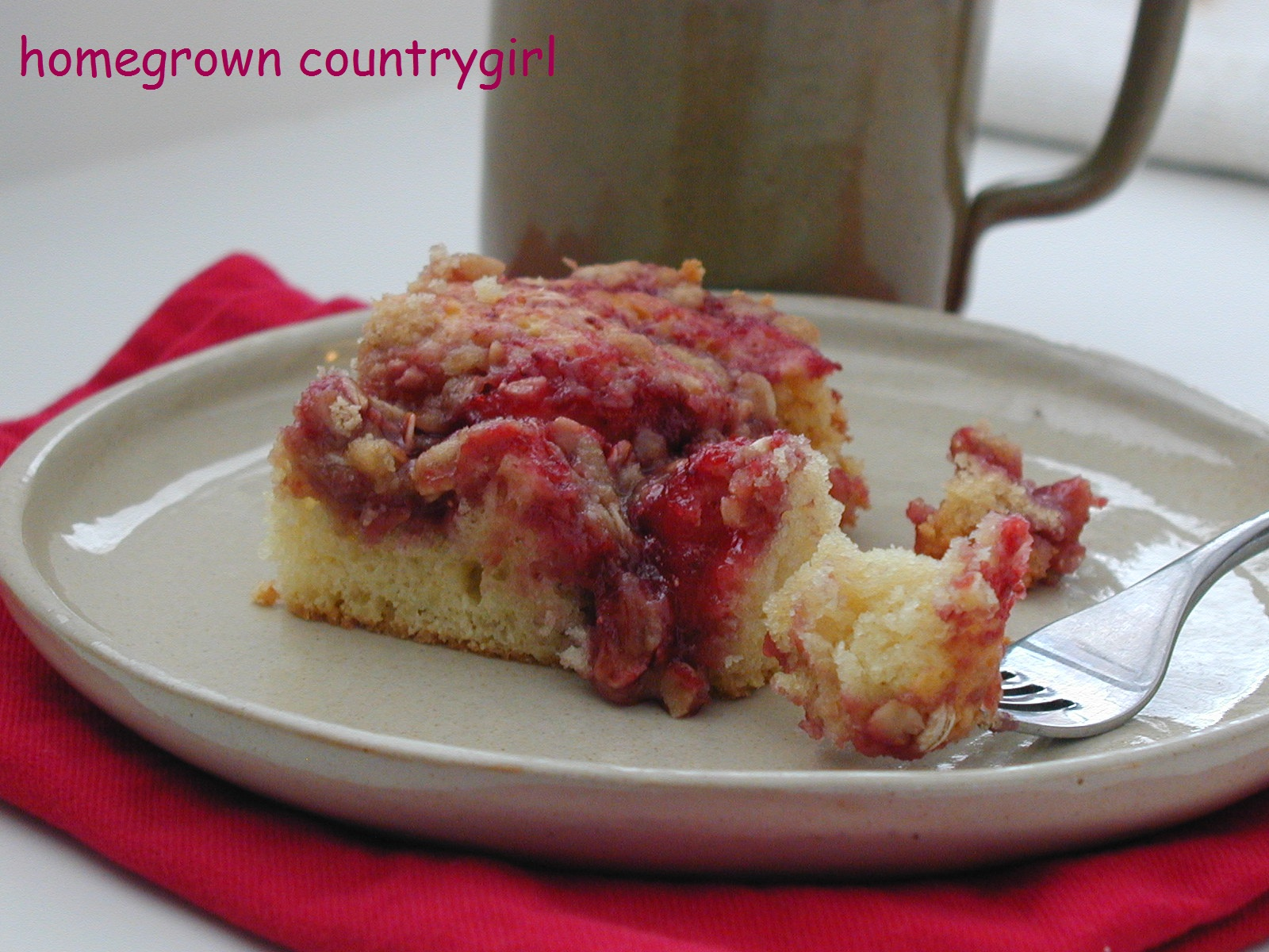 homegrown countrygirl: Strawberry Sour Cream Coffee Cake