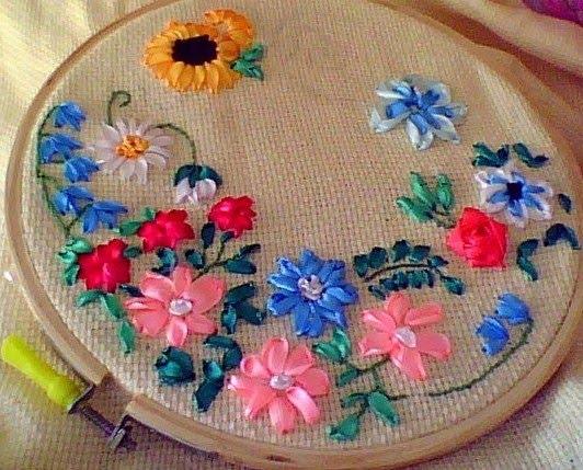 Anitakumarcrafts silk ribbon embroidery sampler