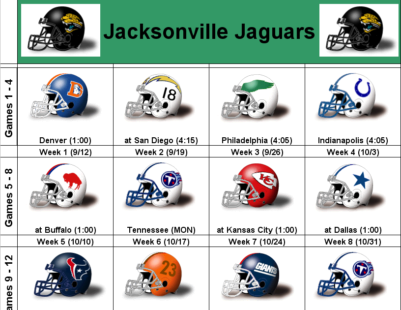 simononsports 2010 jacksonville jaguars printable helmet schedule. Cars Review. Best American Auto & Cars Review
